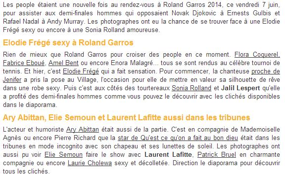 Elodie Frégé à Roland Garros (06 juin 2014) Captur13