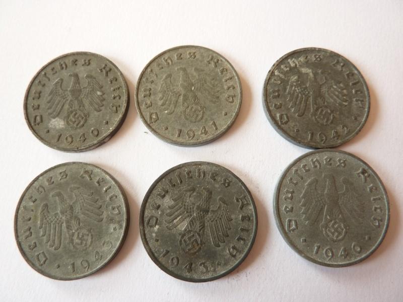 Pieces de 1, 5 et 10 Reichspfennig, toutes annees. P1180717