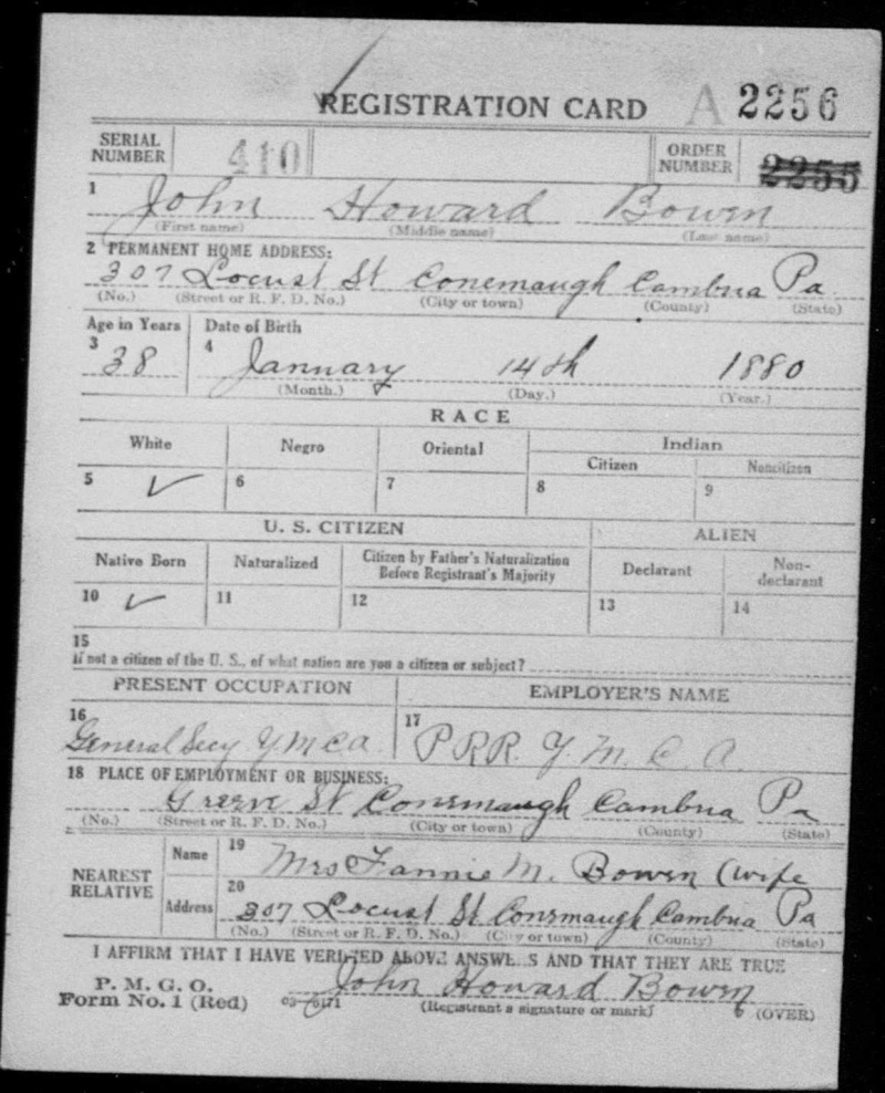 Did Albert Osborne change the Real John Howard Bowen's date of birth? Johnho11