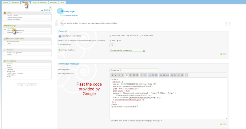 Add a Google search Toolbar on your forum Home Page Pa13