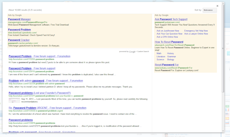 Add a Google search Toolbar on your forum Home Page Passwo11