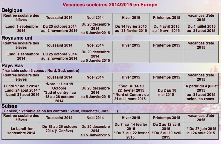 Calendrier vacances europeennes Captur10
