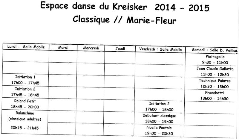 Planning cours Classique Marie-Fleur 2014- 2015 Planni11
