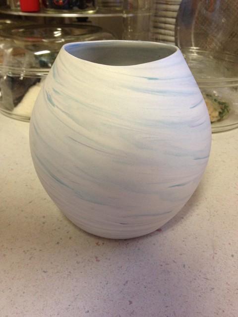 "Swirled Pastel Bisque Vase signed ""Bella"" - Who is Bella? Bellav12"