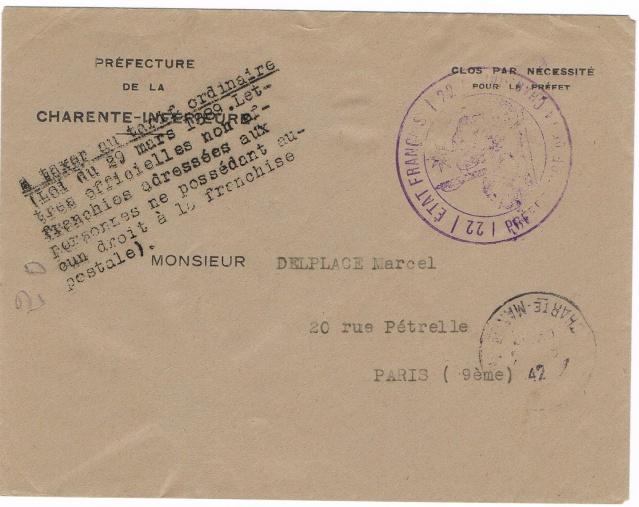 """Cachet administratif """" ETAT FRANCAIS /22/ PREFECTURE DE CHARENTE INFERIEURE"""" (1942) Ccf11020"""