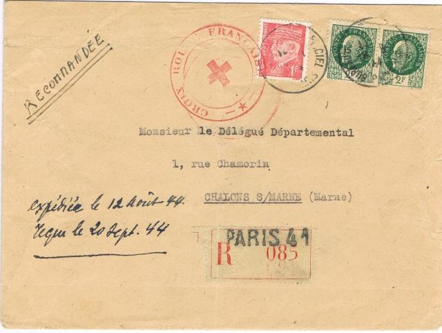 """Lettre  avec étiquette de recommandation """"PARIS 41 """"  et  TAD """"BUREAU DU COURRIER OFFICIEL PARIS"""" du 18.9.44 pour Chalons-sur-Marne Ccf11021"""