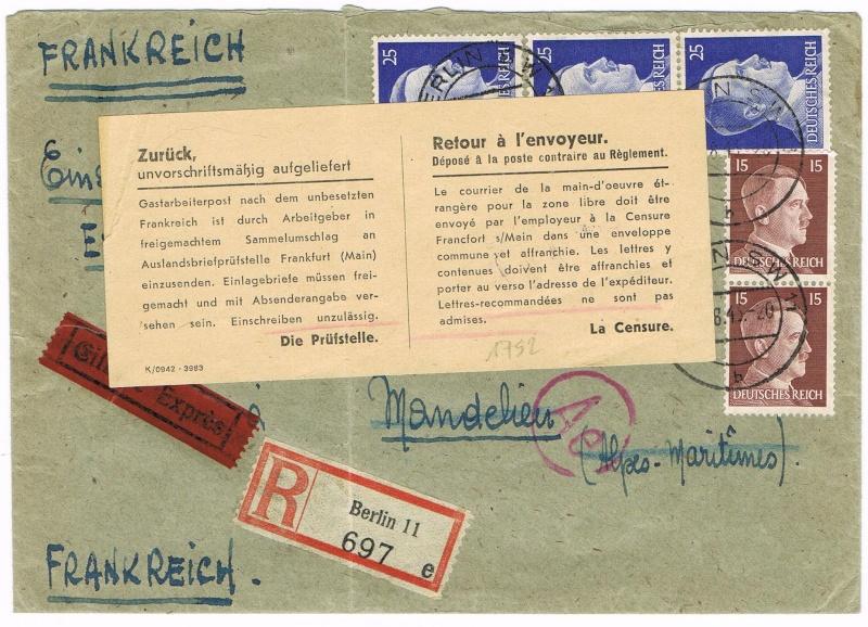 Lettres recommandées en exprès des STO ne sont plus admises temporairement par la censure de Francfort/M (e)  pour la zone sud Ccf18111