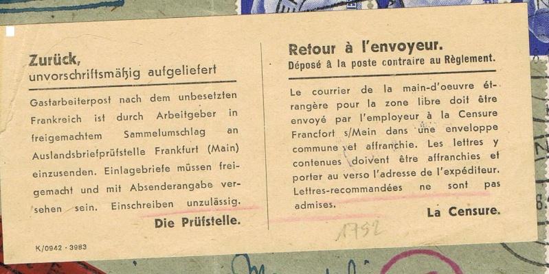 Lettres recommandées en exprès des STO ne sont plus admises temporairement par la censure de Francfort/M (e)  pour la zone sud Ccf18112