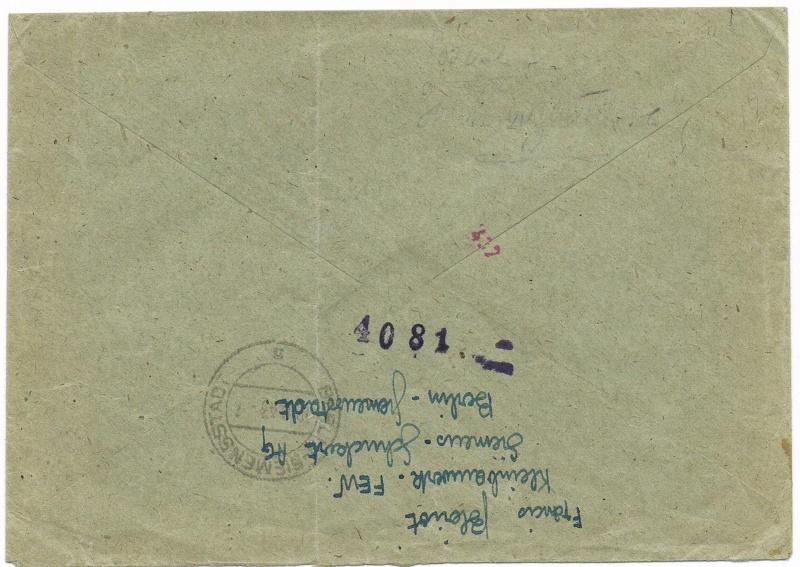 Lettres recommandées en exprès des STO ne sont plus admises temporairement par la censure de Francfort/M (e)  pour la zone sud Ccf18113