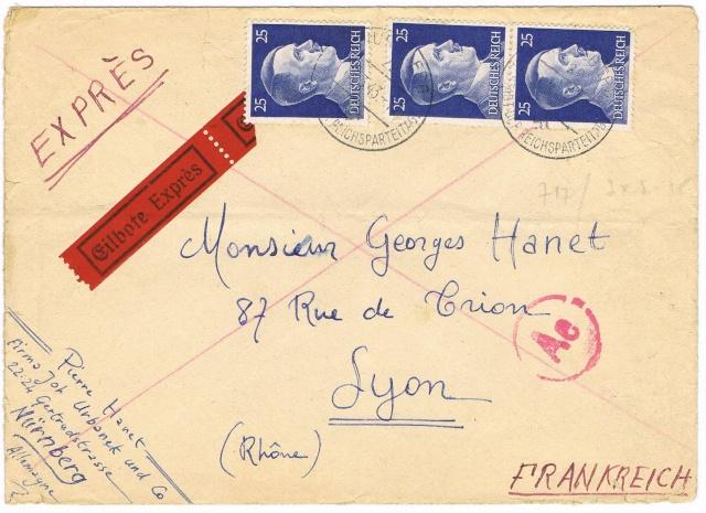 Lettres recommandées en exprès des STO ne sont plus admises temporairement par la censure de Francfort/M (e)  pour la zone sud Ccf25111