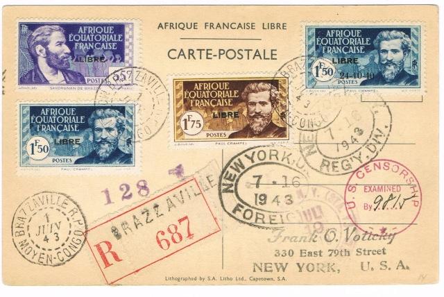 CARTE FAFL DE GAULLE envoyée de MAYUMBA 1943 Ccf27011