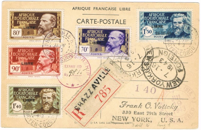 CARTE FAFL DE GAULLE envoyée de MAYUMBA 1943 Ccf27013
