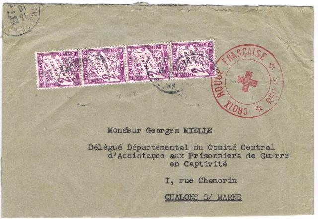 """Lettre  avec étiquette de recommandation """"PARIS 41 """"  et  TAD """"BUREAU DU COURRIER OFFICIEL PARIS"""" du 18.9.44 pour Chalons-sur-Marne Ccf28012"""