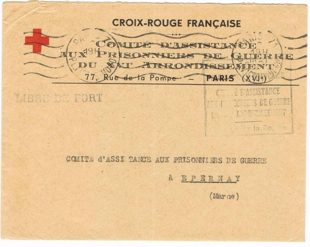 """Lettre  avec étiquette de recommandation """"PARIS 41 """"  et  TAD """"BUREAU DU COURRIER OFFICIEL PARIS"""" du 18.9.44 pour Chalons-sur-Marne Ccf28013"""