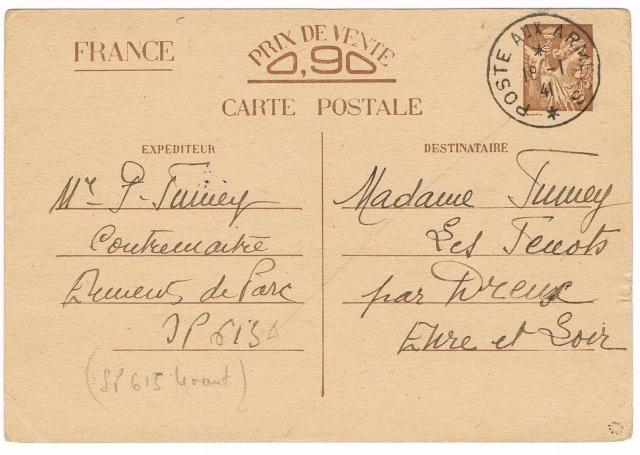 Note E.P.1 du 04.12.1940 relative au contrôle à exercer sur les Cartes Postales familiales (Interzone) Ccf29010