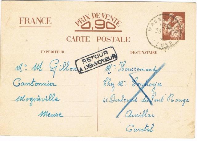 Note E.P.1 du 04.12.1940 relative au contrôle à exercer sur les Cartes Postales familiales (Interzone) Ccf29012