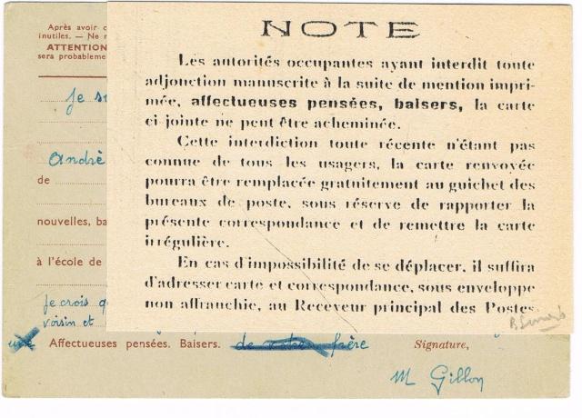 Note E.P.1 du 04.12.1940 relative au contrôle à exercer sur les Cartes Postales familiales (Interzone) Ccf29013