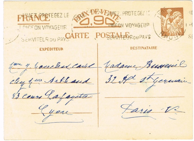 Note E.P.1 du 04.12.1940 relative au contrôle à exercer sur les Cartes Postales familiales (Interzone) Ccf29015
