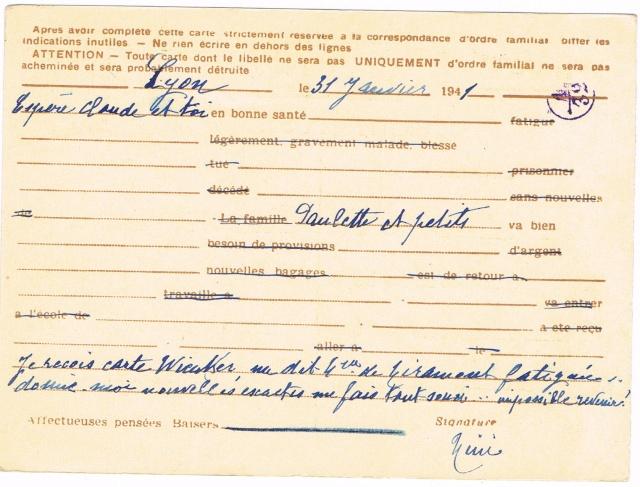 Note E.P.1 du 04.12.1940 relative au contrôle à exercer sur les Cartes Postales familiales (Interzone) Ccf29016