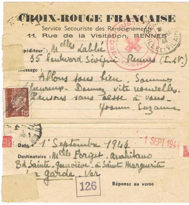 1944 une lettre contrôlée par la censure Ccf30012