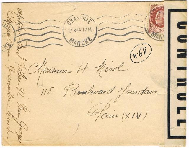 1944 une lettre contrôlée par la censure Ccf30014
