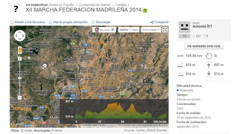 Perfil XII Marcha Cicloturista Comunidad de Madrid 2014 Ruta_x10