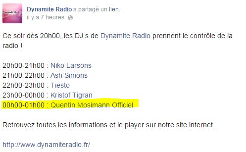 {(24/10/2014)}  Dynamite Radio Quentin Mosimann de  00 H 00  à 1 h 00 Mess1137