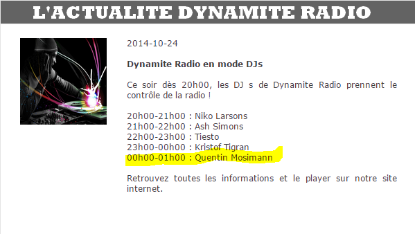 {(24/10/2014)}  Dynamite Radio Quentin Mosimann de  00 H 00  à 1 h 00 Mess1138