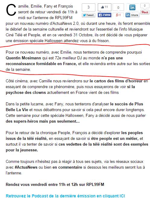 {(31/10/2014)} RPL99FM Rendez  vous entre 11 h et 12 h  Mess1200