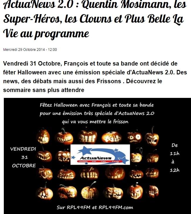 {(31/10/2014)} RPL99FM Rendez  vous entre 11 h et 12 h  Messa469