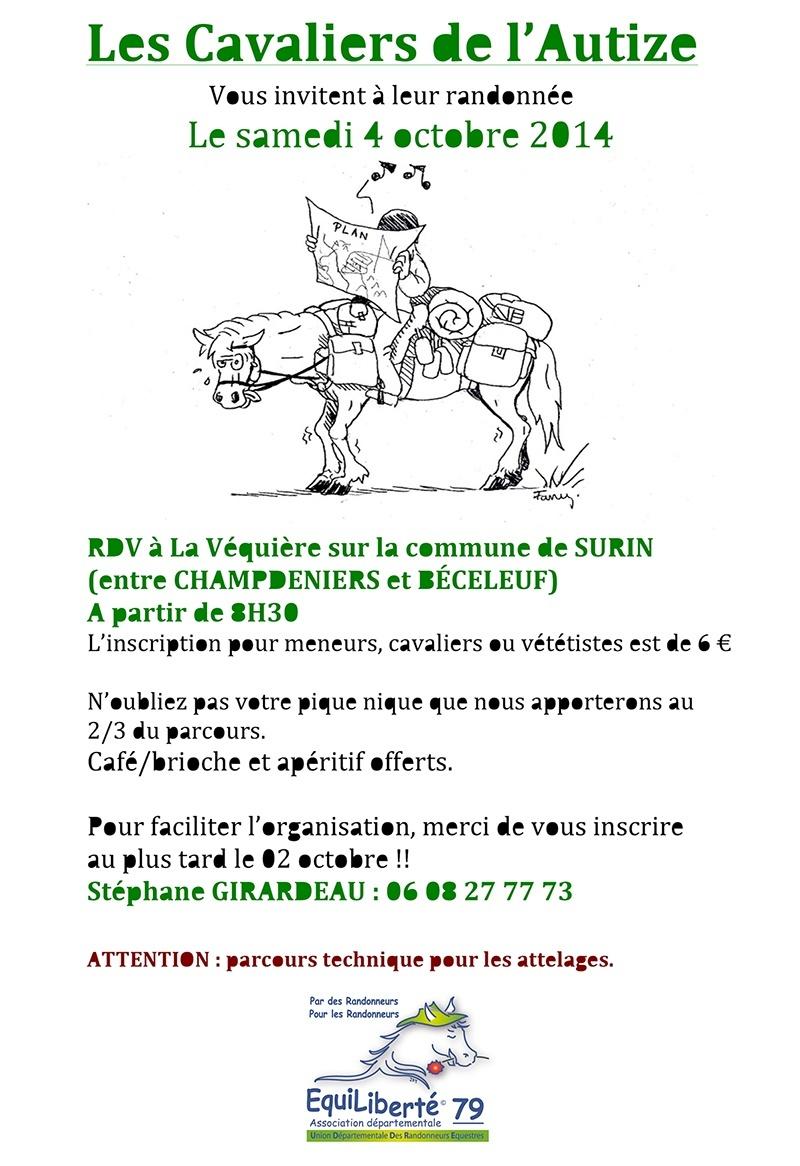 Randonnée des Cavaliers de L'Autize du 4 octobre 2014 (79) Affich21