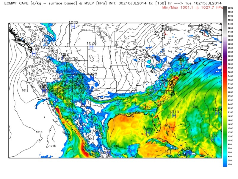 Severe Weather Outbreak Possible 7/14-7/15 Cape_710