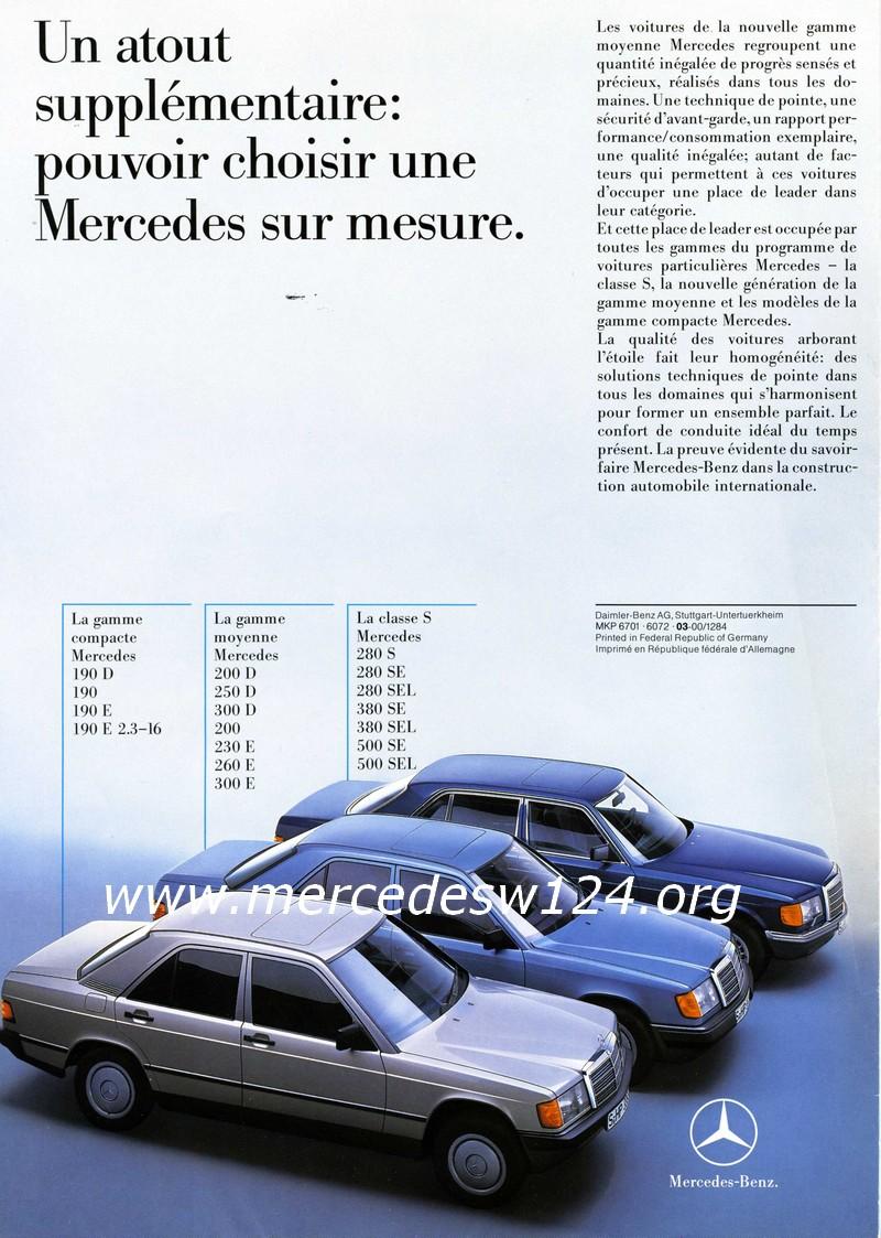 La nouvelle gamme moyenne Mercedes-Benz 200 D à 300 E 1610