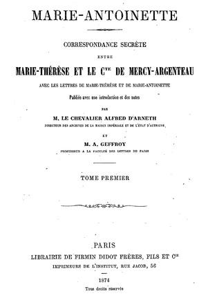 Correspondance secrète entre Marie Thérèse et le Comte de Mercy Argenteau Zcouve10