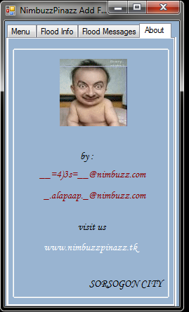 NimbuzzPinazz Add Flood + Pvt Flood Message  by  __=4)3s=__@nimbuzz.com Pvtadd14