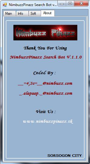 NimbuzzPinazz Search Bot v1.1.0 by  __=4)3s=__@nimbuzz.com S510