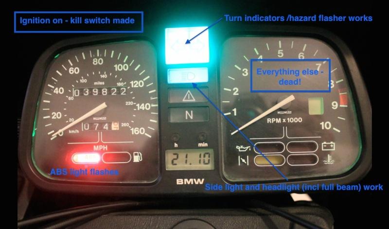 Indicators, lights, horn, brake lights all ok but no dash lights or ignition. Igniti13