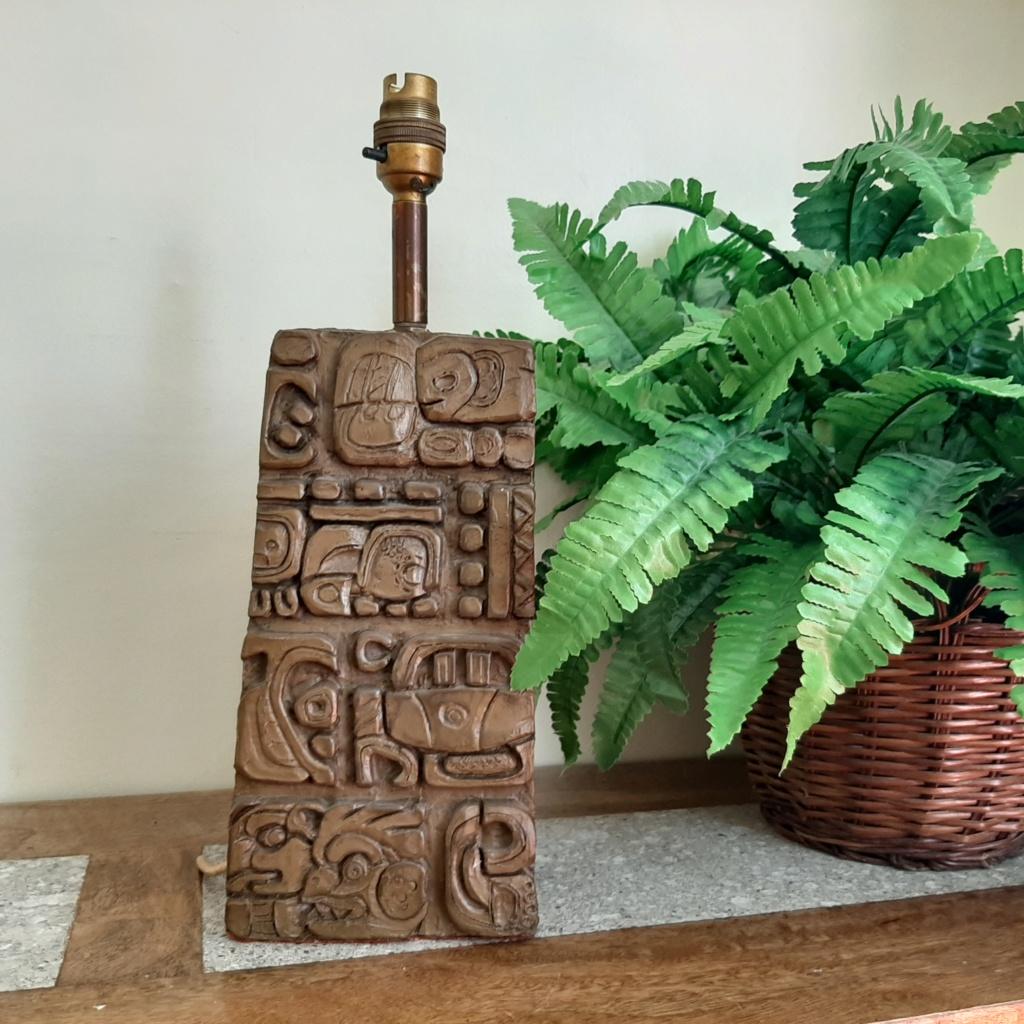 Mesoamerican, Tiki, Brutalist Style Lamp.  20200610