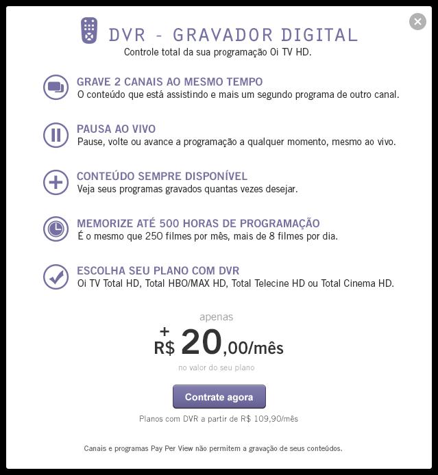 Receptor com gravação interna da Oi TV já está sendo comercializado Modal-10