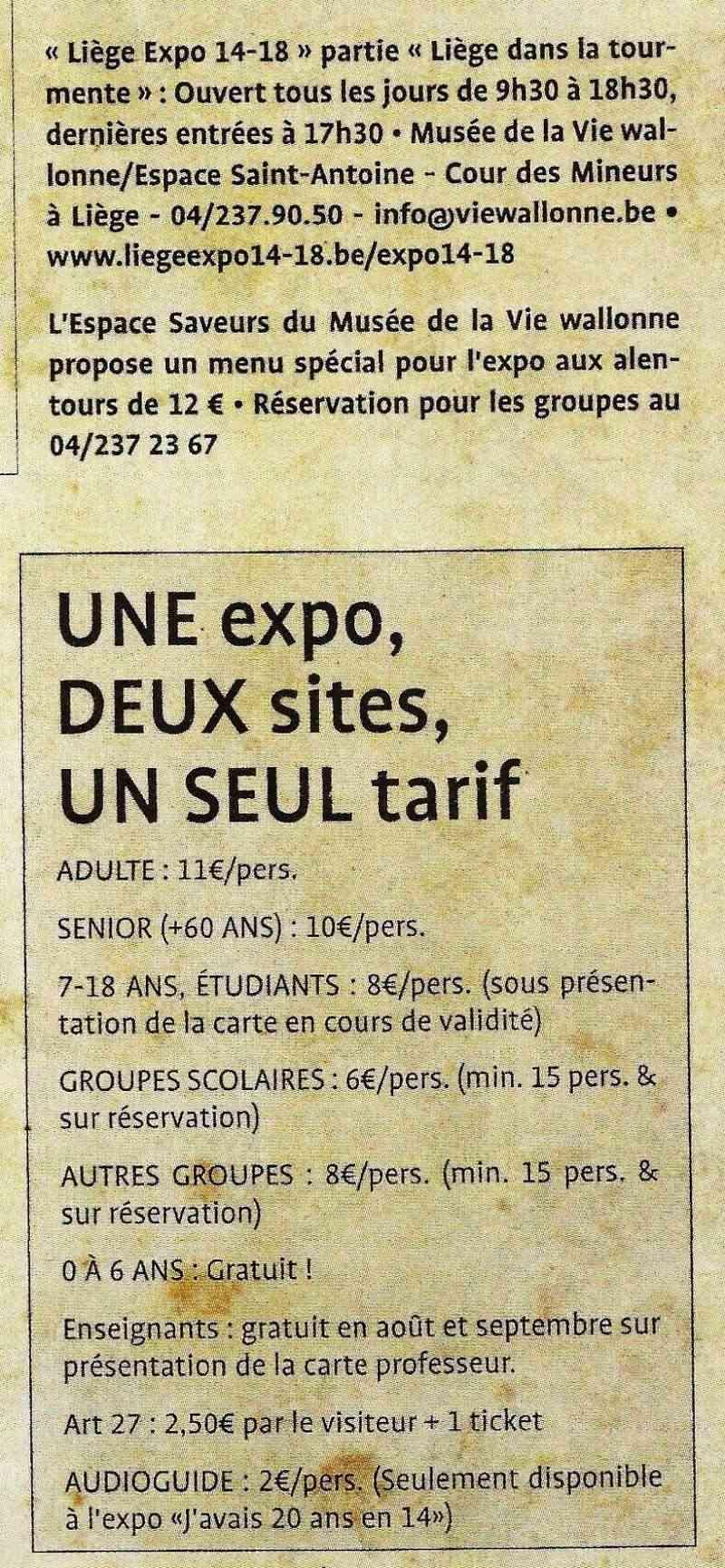 liège expo 14-18 Tarif10
