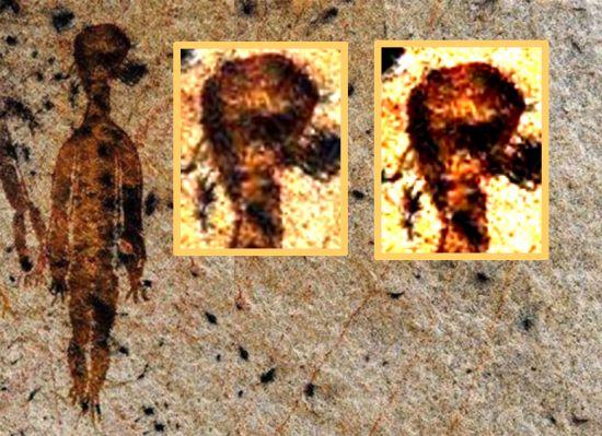 """Hallan en la India pinturas rupestres de hace 10.000 años con """"'ovnis"""" y """"'alienígenas"""" 513"""