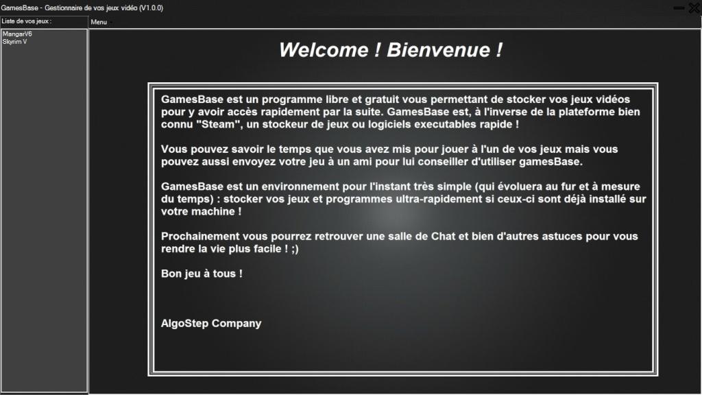 GamesBase (logiciel) - MAJ 14/08/14 [Version 1.0.0] - Demo 0114