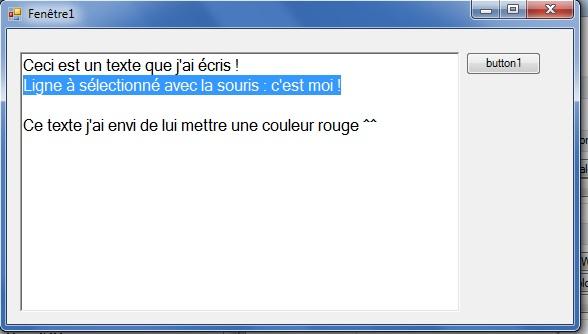 [TUTORIEL] Changer la couleur d'un texte SELECTIONNE dans un RichTextBox sous SZ 2012/2014 1212