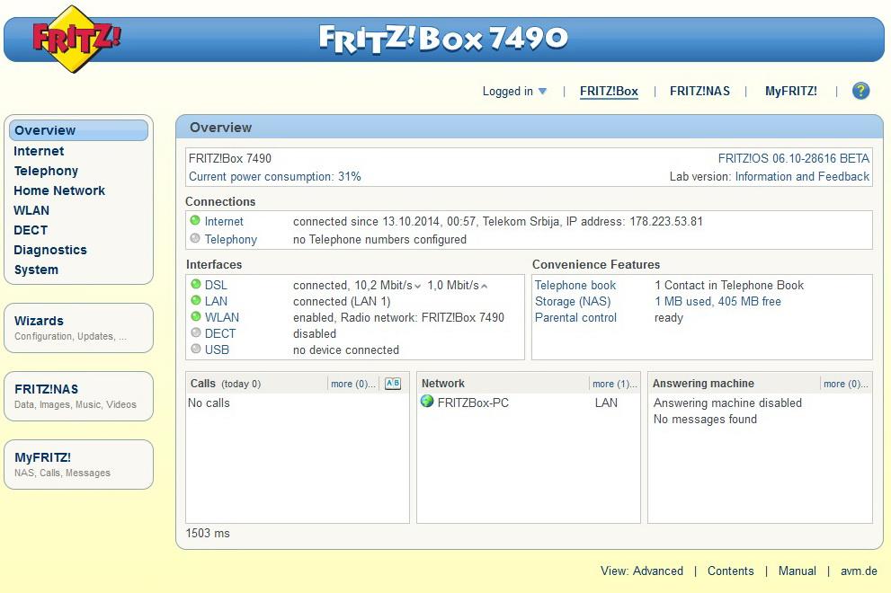 FRITZ!Box 7490 e OS FRITZ! 6.20  7490_110