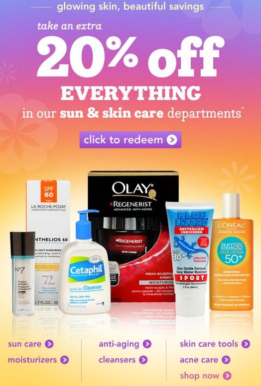 Drugstore - скидка 20% на уход за кожей, солнцезащитные крема. Ddnddn26