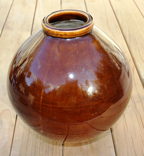 Large Brown Ovoid Vase Img_1114