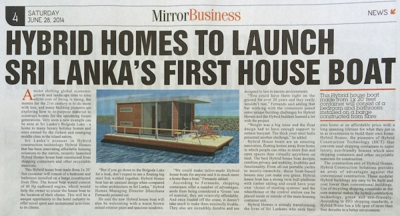 Hybrid Homes to Launch Sri Lanka's First House Boat made from Shipping Containers. House_10