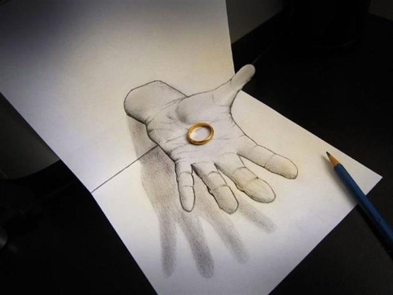 Dessin sur papier effet d'optique Anneau10