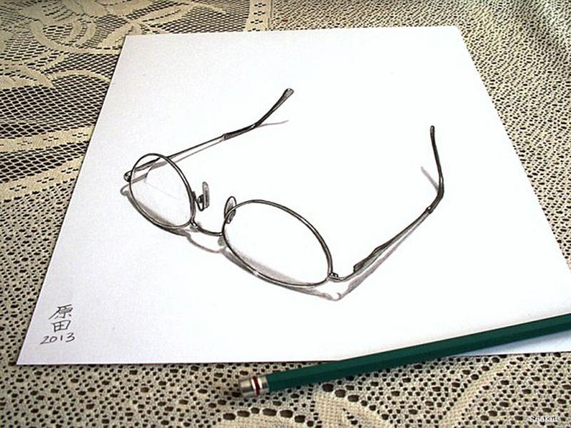 Dessin sur papier effet d'optique Lunett10