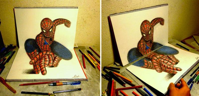 Dessin sur papier effet d'optique Spider10